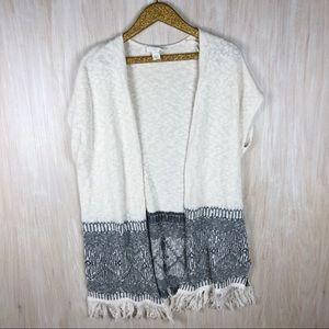 LOFT Knit Fringe Bottom Open Cadigan XS/S